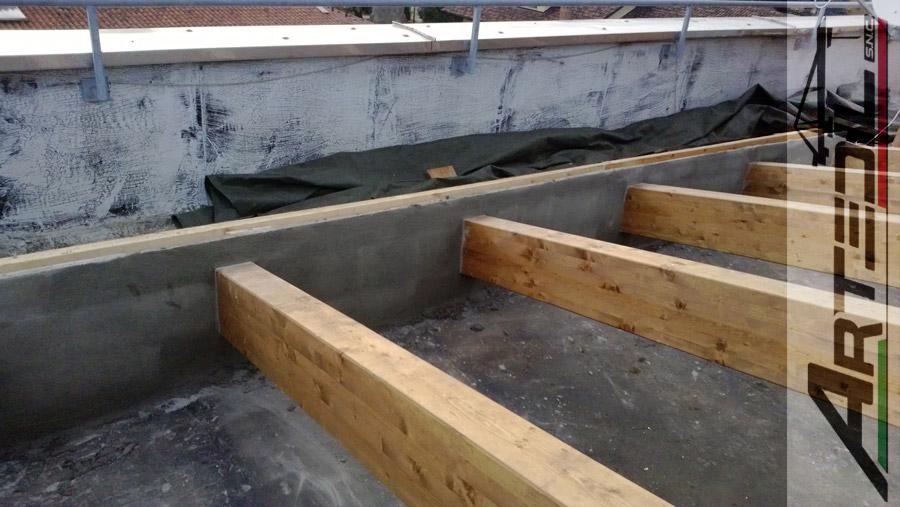 rifacimento tetto, travi legno